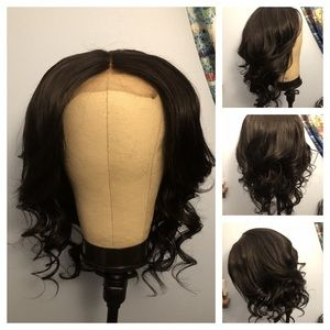 Mid Length Black Human Hair Lace Front Wig